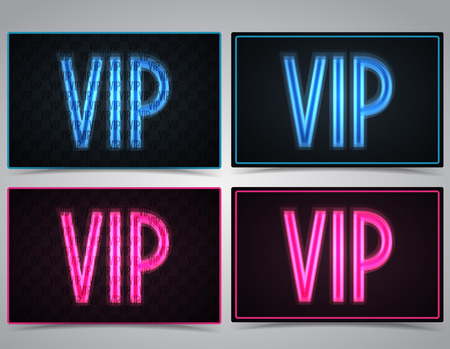 Neon vector VIP text in pink and blue Vector