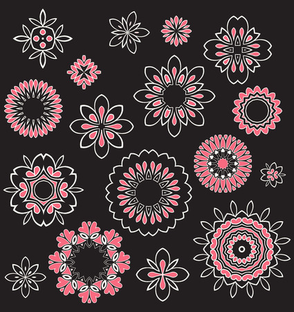 Vector Set Floral ornament pattern various shapes Vector
