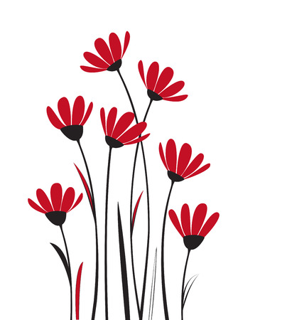 Vector flowers with red petals on a white background