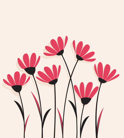 grass silhouette: Vector flowers with pink petals on a bright background Illustration