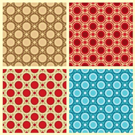 web background pattern: Four seamless patterns in retro colors, circles Illustration