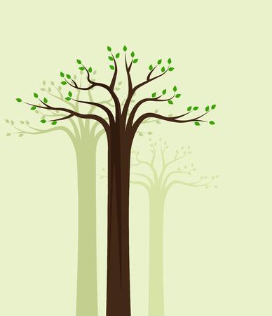 fondo natural: Vector de fondo natural de los �rboles con hojas