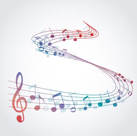 pentagrama musical: Vector de fondo musical con notas de color, la melod�a