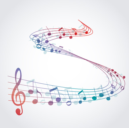 musical notes background: Vector musical background with colored notes, melody