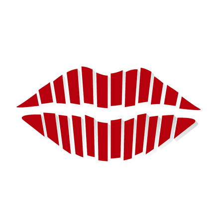 kissing lips: Retro red kiss on a white background