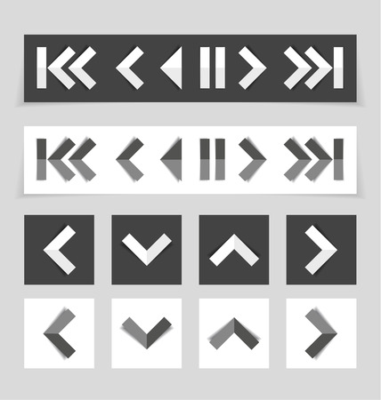 top pointer: Set of different arrows, pointers, media panel Illustration