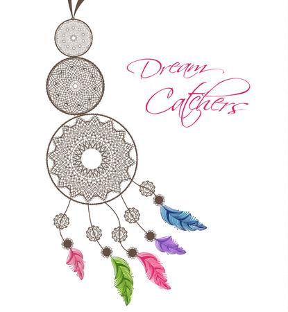 Dreamcatcher met veren op een witte achtergrond