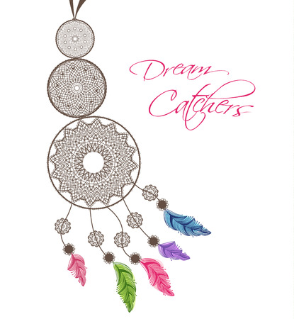 dream catcher: Dreamcatcher with feathers on a white background