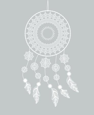 atrapasueños: El cazador de sueños con plumas en un fondo gris