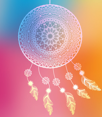 catcher: Dream catcher with feathers on colorful background