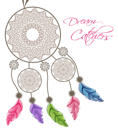 dreamcatcher: Dreamcatcher with feathers on a white background