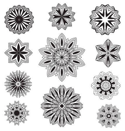 blumen verzierung: Vector Set floral ornament pattern verschiedenen Formen