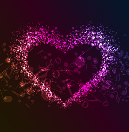 musical background: Vector dark background with a heart of musical notes