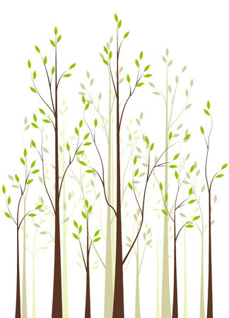 Trees with green leaves on white background 일러스트