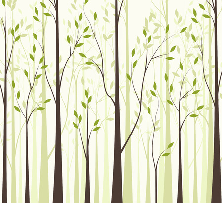 Trees with green leaves on white background Stock Illustratie