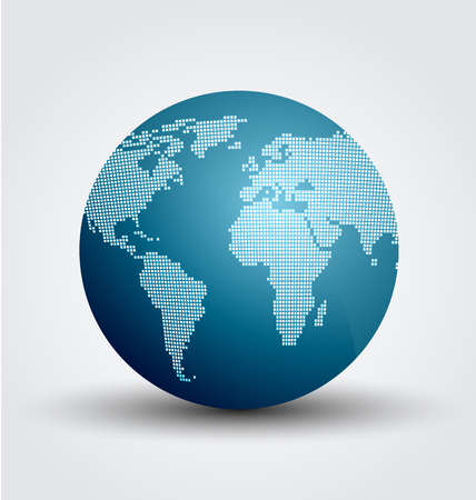 digital world: Vector illustration of abstract digital world globe