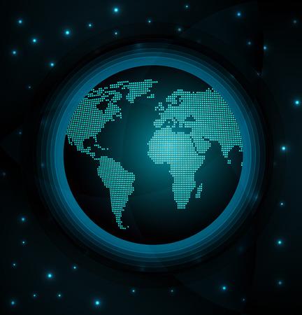 globe world: Vector illustration of abstract digital world globe