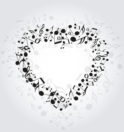 musical note: Background with heart made up of musical notes