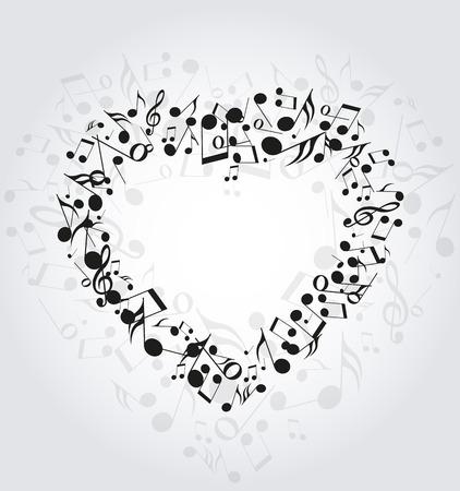 nota musical: Fondo con el corazón formado por las notas musicales