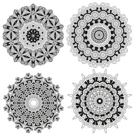 blumen verzierung: Vector set floral ornament pattern various shapes