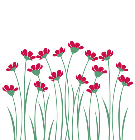 grass silhouette: Vector flowers with pink petals on a white background