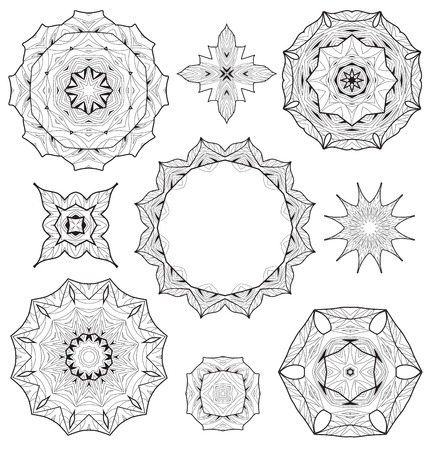 Fabric Texture: Vector set floral ornament pattern various shapes