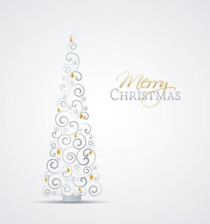 tree outline: Vector Christmas tree on a gray background