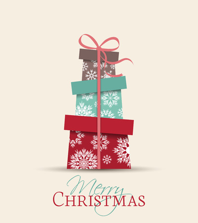 neige noel: R�tro d�coratifs de No�l cadeaux, vecteur carte de No�l