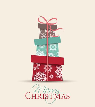 cintas  navide�as: Retro regalos, vector de la tarjeta decorativa de Navidad Vectores