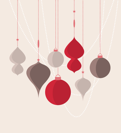 color balls: Retro decorative Christmas balls, vector Christmas card