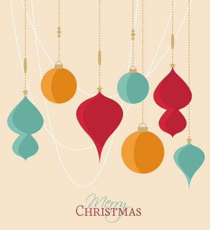 Retro decoratieve kerst ballen, vector Kerstkaart Stock Illustratie