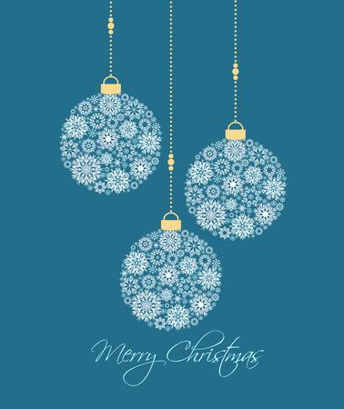 pelota: Bolas de Navidad hechas de los copos de nieve ilustración vectorial