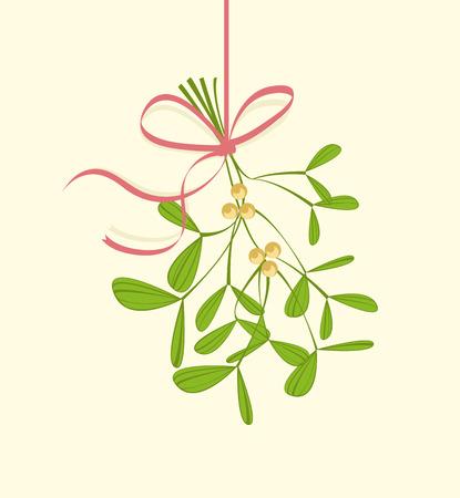 Christmas mistletoe hanging on a light background 일러스트