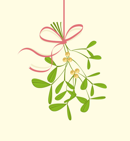 Christmas mistletoe hanging on a light background Vectores