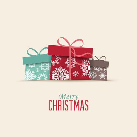 cajas navide�as: Retro regalos decorativos de Navidad, tarjeta de Navidad del vector Vectores