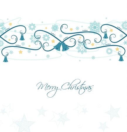 blue border: Vector background with Christmas ornaments, Christmas card