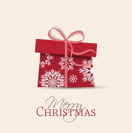 Retro decorative Christmas present, Vector Christmas card