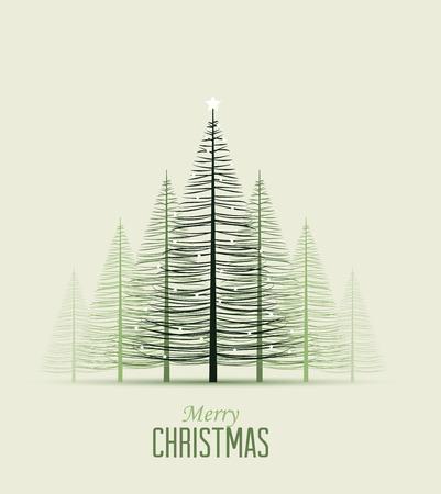 postcard: Conjunto de árboles de Navidad, ilustración vectorial Bosque Vectores