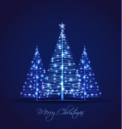 Árvores de Natal do vetor em um fundo azul