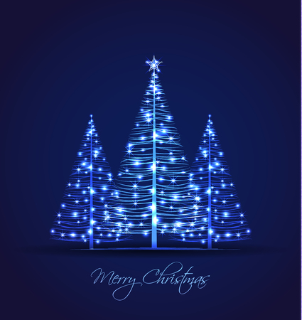 seasons greeting card: Vector Christmas trees on a blue background