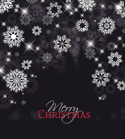 black and silver: Vector illustration of abstract Christmas background with snowflakes