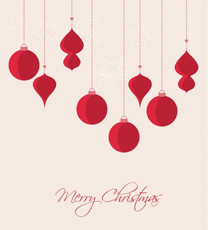 Retro bolas, vector tarjeta de Navidad decorativos de Navidad Foto de archivo - 46642274