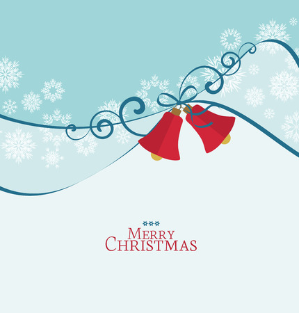 Vector background with Christmas bells, Christmas card Çizim