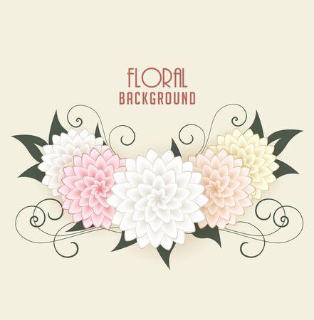eleganz: Vector Floral background, Grußkarten mit Blumen