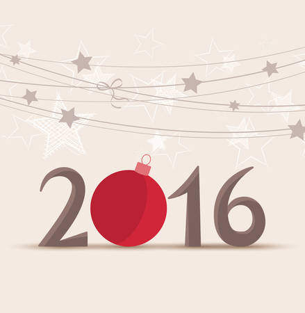 graphic display cards: Vector illustration background Happy New Year 2016