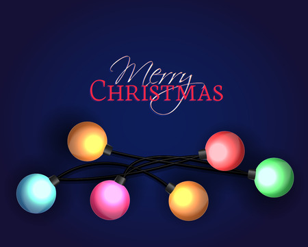 blue card: Vector illustration Christmas decorations glowing lights Illustration