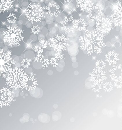 silver background: Vector illustration of abstract Christmas background with snowflakes