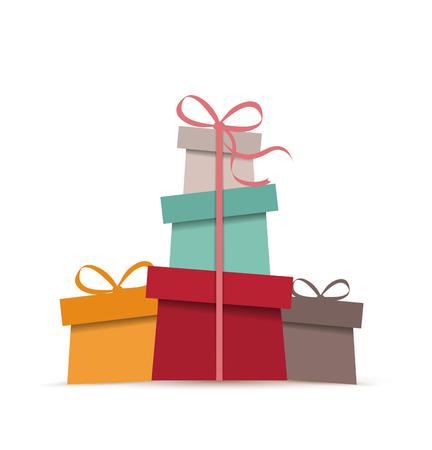 cajas navidad: Retro regalos, vector de la tarjeta decorativa de Navidad Vectores