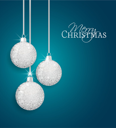 glitter ball: Vector Christmas balls on a blue background Illustration