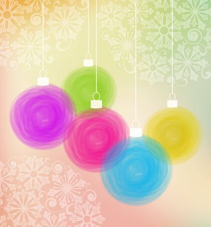 color image: Vector illustration Christmas balls on colorful background